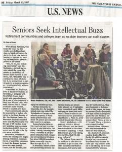Wall Street Journal Seniors Seek Intellectual Buzz 3.17.2017